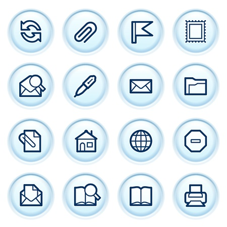 E-mai web icons on blue buttons  Vector