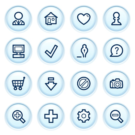 Basic web icons on blue buttons  Vector