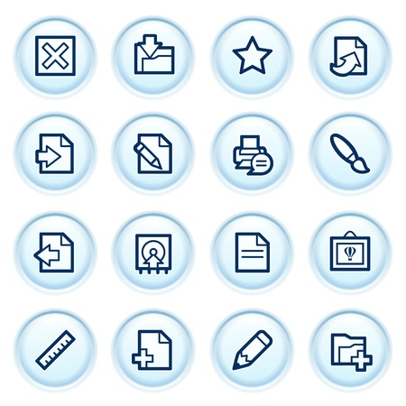 shut: Document web icons on blue buttons