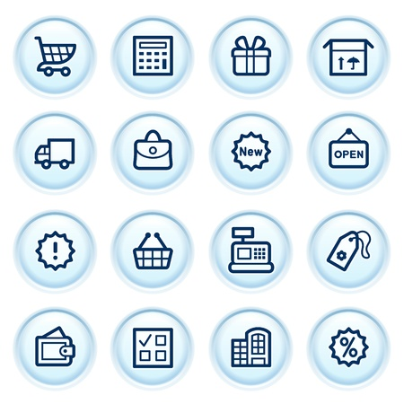 Shopping  icons on blue buttons  Vector