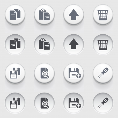 save as: Document web icons on white buttons  Set 2