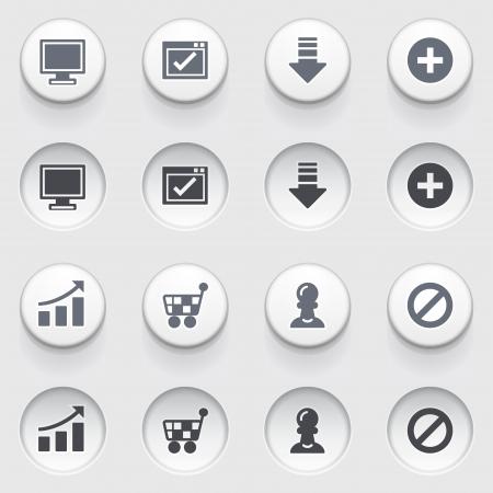 inhibition: Basic web icons on white buttons  Set 2  Illustration