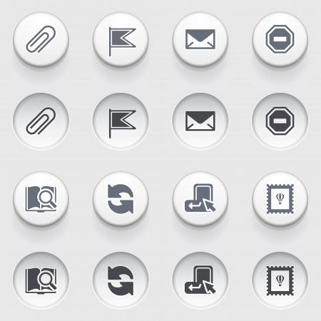 attach: E-mail web iconos en los botones blancos Set 2 Vectores