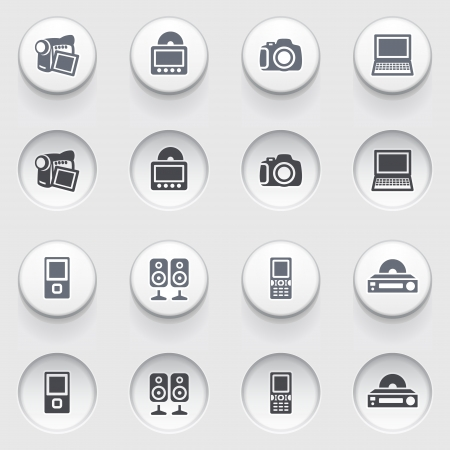 Electronics web icons on white buttons  Set 1  Stock Vector - 17084278