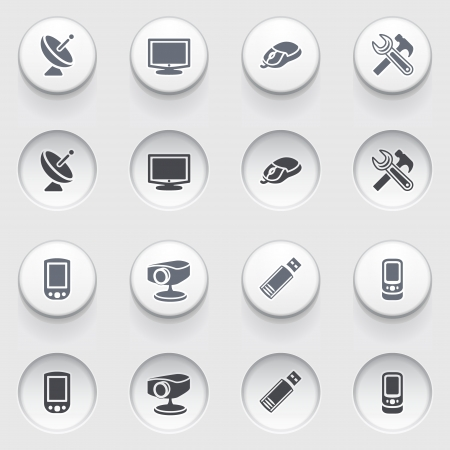 Electronics web icons on white buttons  Set 2 Stock Vector - 17084277