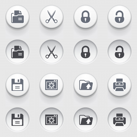 save as: Document web icons on white buttons  Set 1  Illustration