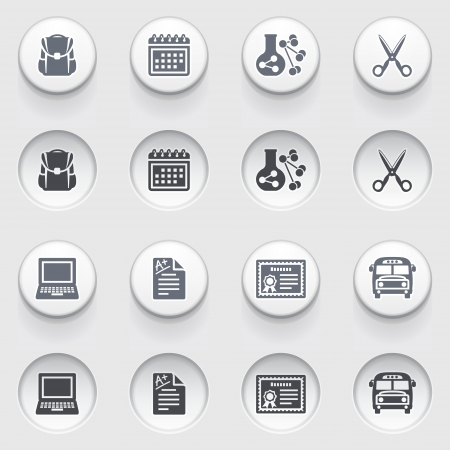 Education icons on white buttons  Set 2 Stock Vector - 17236423