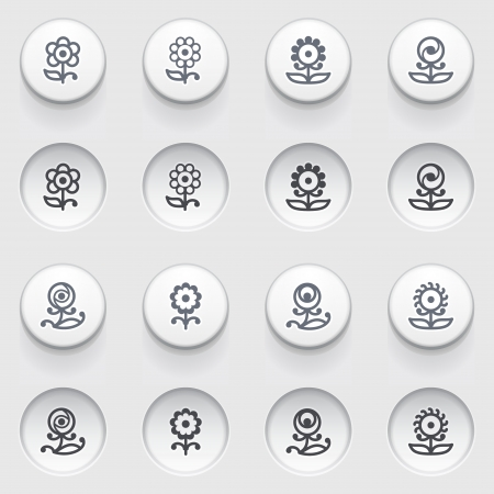 formal garden: Flowers icons on white buttons