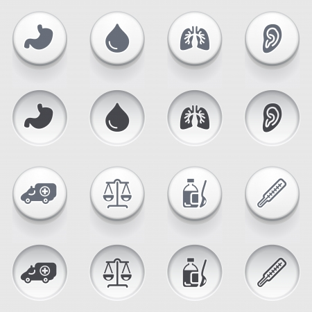 ear drop: Medicine icons on white buttons  Set 1