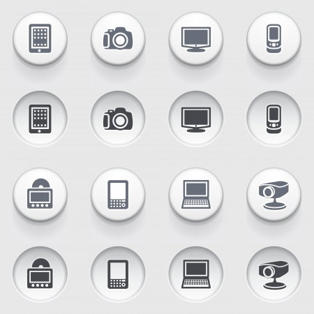 Electronics icons on white buttons  Vector