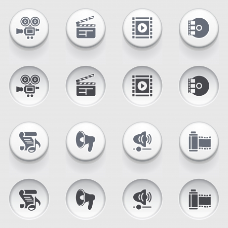 Audio video icons on white buttons  Vector