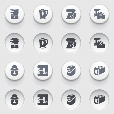 Home appliances icons on white buttons  Vector