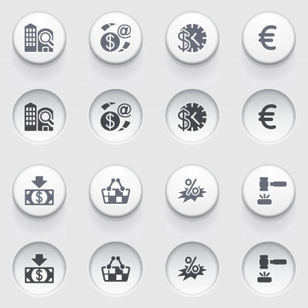 money order: Commerce icons on white buttons   Illustration