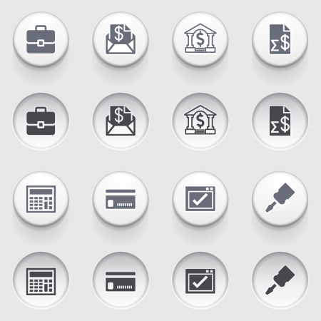 configure: Banking icons on white buttons  Illustration