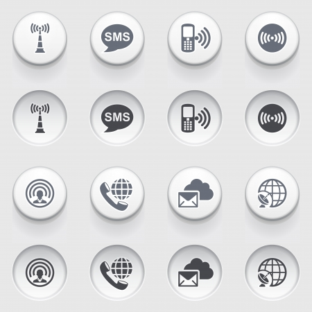 Communication icons on white buttons Stock Vector - 18988720