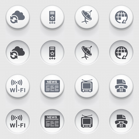 Communication icons on white buttons Stock Vector - 18988726