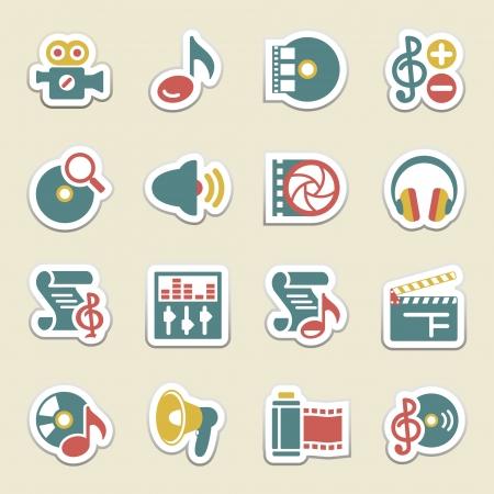 music loudspeaker: Audio video color icons