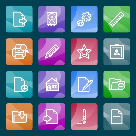 Document white icons on color buttons  Vector