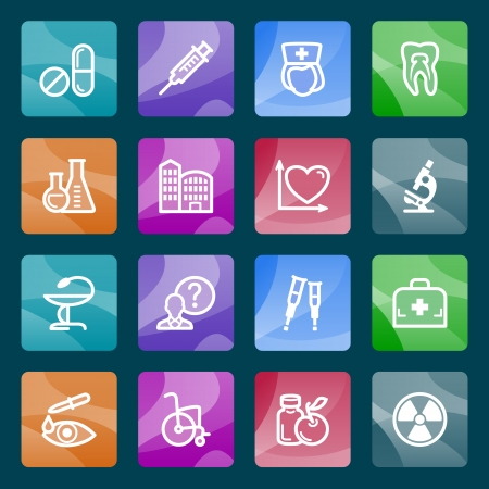 Medicine white icons on color buttons  Vector