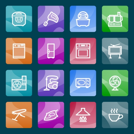 blue white kitchen: Home appliances white icons on color buttons  Illustration