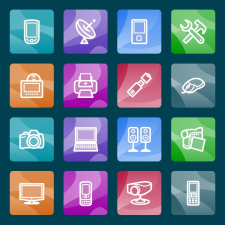 Electronics white icons on color buttons  Stock Vector - 24501836
