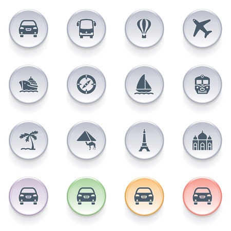 Travel icons on color buttons  Vector