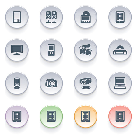 pocket pc: Electronics icons on color buttons