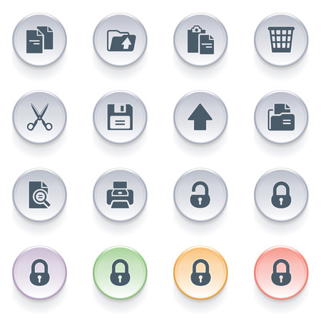 Document icons on color buttons  Vector
