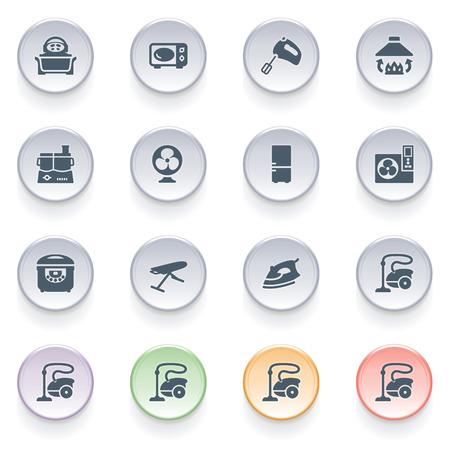 Kitchen appliances icons on color buttons  Vector
