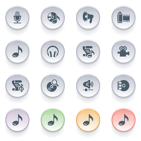 audio video: Audio video icons on color buttons
