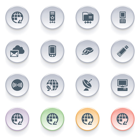 Communication icons on color buttons  Vector