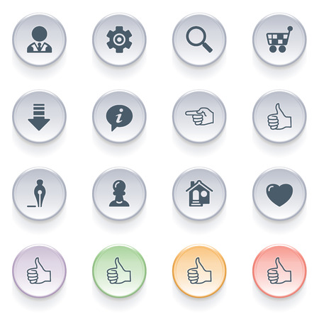 Icons for web on color buttons  Illustration