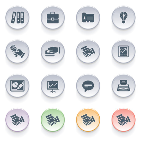 Business icons on color buttons  Vector