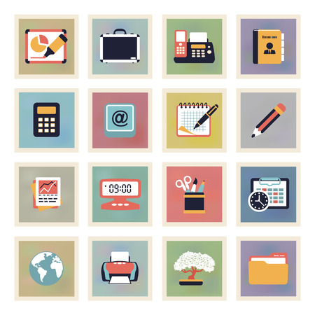 Business modern color icons  Vector