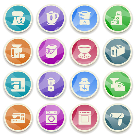 Home appliances color icons