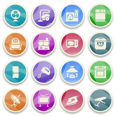 microwave antenna: Electrodom�sticos iconos de color