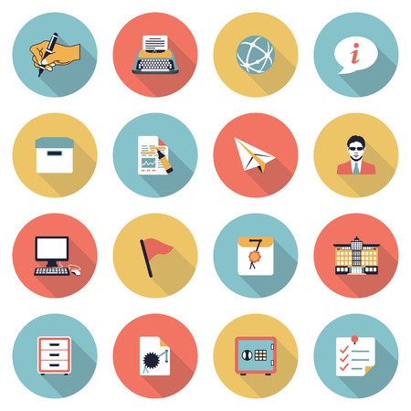 filing documents: Vector icons set for websites, guides, booklets. Illustration