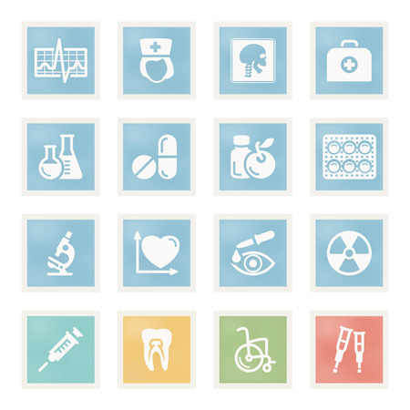 crutch: Vector icons set for websites, guides, booklets. Illustration