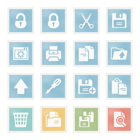 unlocked: Vector icons set for websites, guides, booklets. Illustration