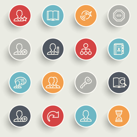 Users icons with color buttons on gray background. Vector