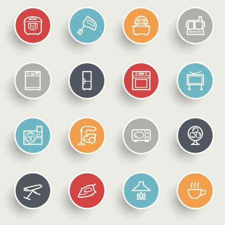 stove: Home appliances icons with color buttons on gray background.