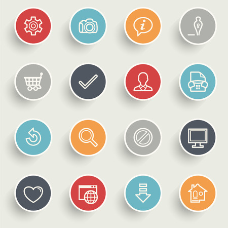 shopping cart icon: Basic icons with color buttons on gray background.