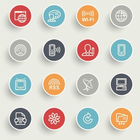 orange sign: Communication icons with color buttons on gray background.