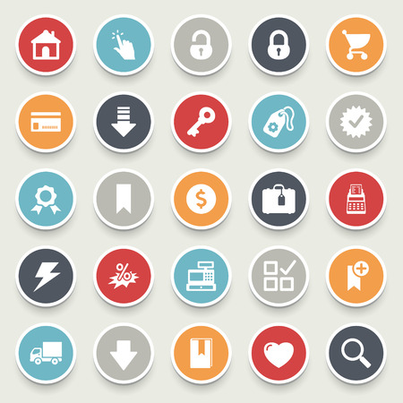 E-commerce and online shopping icons. Vector
