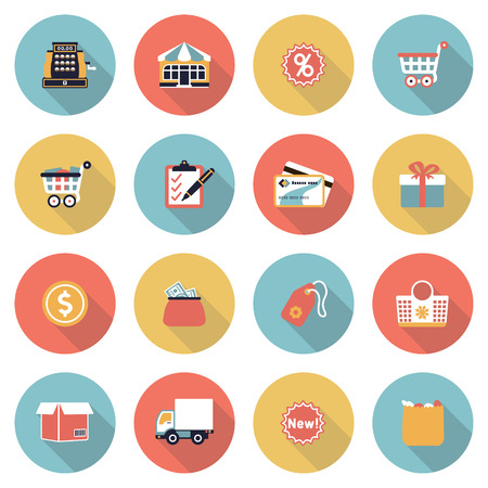 Shopping modern flat color icons. Vector