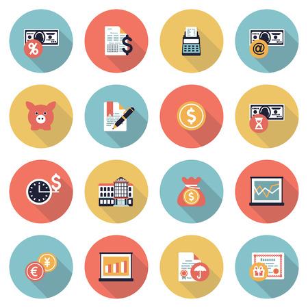 graft: Finance modern flat color icons.