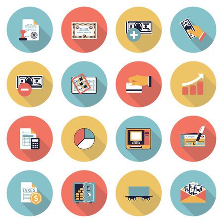 tributos: Finanzas modernos iconos de color planas. Vectores