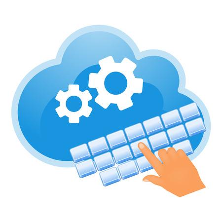 クラウド、コンピューティング、サービスの図。
