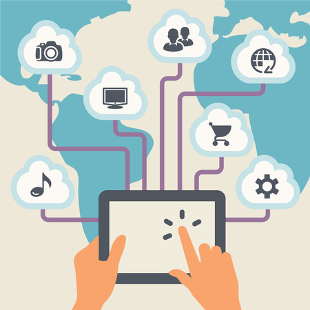 wireless connection: Cloud computing. Tablet with a wireless connection. Concept communication.