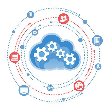 red informatica: Nube, computaci�n, ilustraci�n servicio.